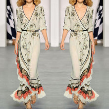 Load image into Gallery viewer, Fashion Sexy V Neck Long Sleeves Maxi Dress
