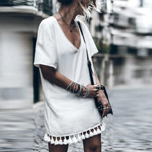 Load image into Gallery viewer, White V-Neck Tassel Dress