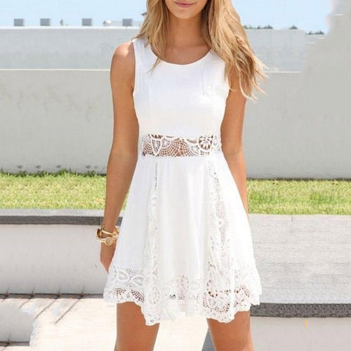 Lace Round Neck Patchwork Sleeveless Skater Dresses