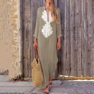 Fashionable Cotton/Line Casual V-Neck Yellow Boho Casual Dress