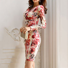 Load image into Gallery viewer, Sexy V-Neck Floral Printed Bodycon Dress