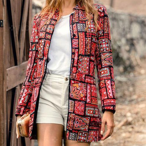 Retro Fashion Slim Print Long Sleeve Suit Coat