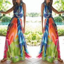 Load image into Gallery viewer, Halter Neck Floral Print Vacation Maxi Dress