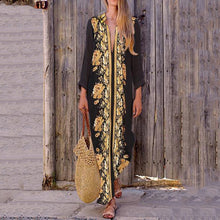 Load image into Gallery viewer, Turn Down Collar  Printed Maxi Dress