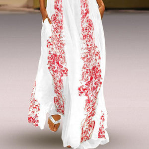 Chinese Stype Red Flower Printed Maxi Dress Vintage Dress