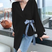 Load image into Gallery viewer, Fashion V Neck Loose Long Sleeve Chiffon Blouse