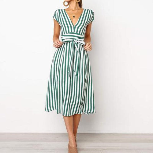 V-Neck  Belt  Striped Skater Dresses