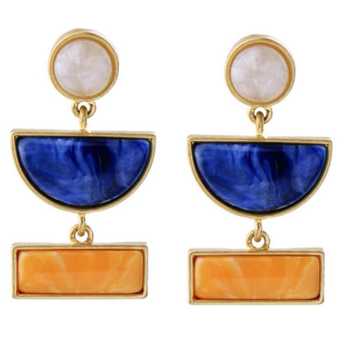 Geometric Color Block Resin Drop Earrings