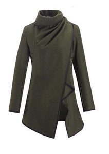 Lapel  Plain Front Wrapped Outerwear