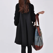 Load image into Gallery viewer, Band Collar Double Breasted Plain Batwing Sleeve Coat