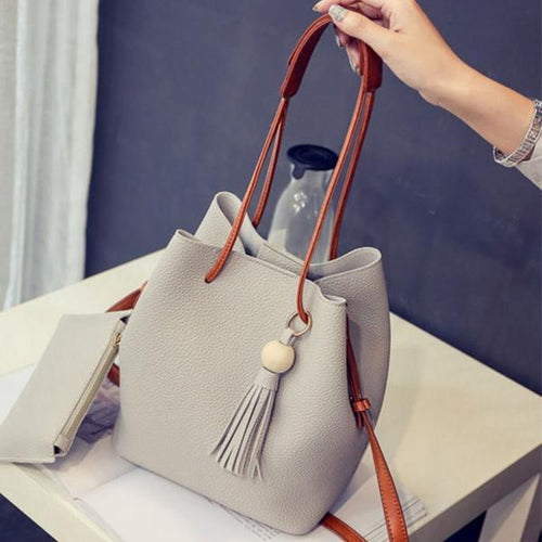 Two-Piece Candy Color Plain Pu Tassel Shoulder Bag