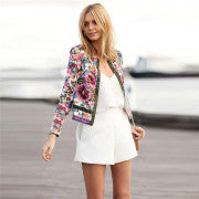 Women's Jacket Floral Printed Coat Outwear