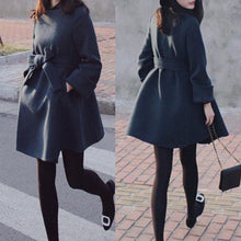 Load image into Gallery viewer, Elegant Bowknot Slim Woolen Coat Outerwear