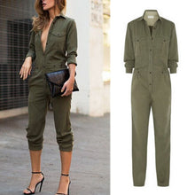 Load image into Gallery viewer, Army Green Fashion Lapel Jumpsuit