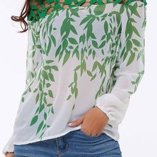 Load image into Gallery viewer, Boat Neck  Floral  Long Sleeve Blouses