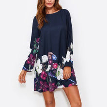 Load image into Gallery viewer, Round Collar Long-Sleeved Printed Vacation Dress