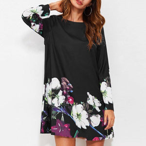 Round Collar Long-Sleeved Printed Vacation Dress