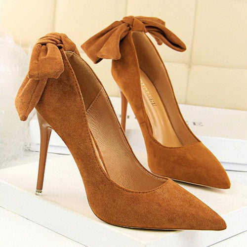 Sweet Bow-Knot Pointed-Toe High Heels Shoes