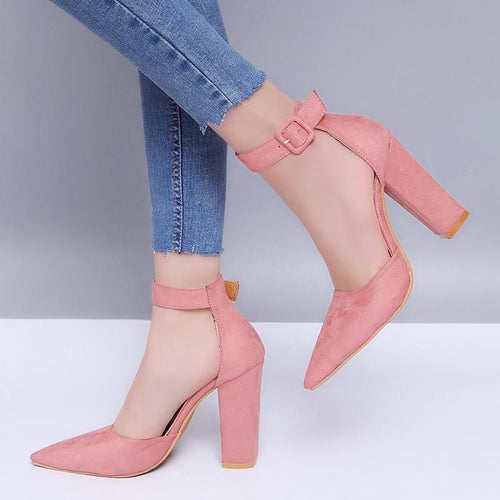 Fashion Pure Color Pointed Toe High Heels Shoes
