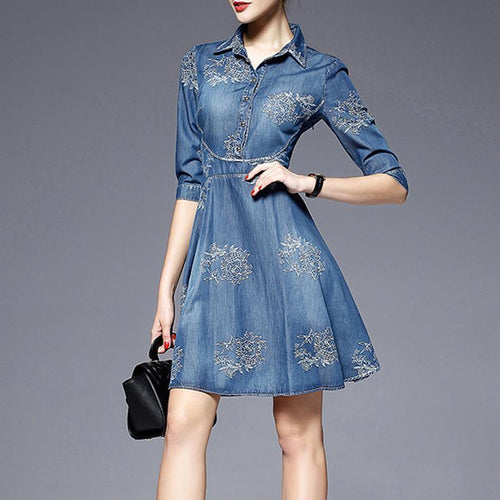 Elegant Embroidery Slim Denim Skater Dress