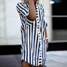 Load image into Gallery viewer, New Small Collar Trend Women's Striped Shirt