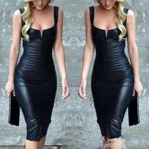 Elegant Black Sleeveless PU Bodycon Work Dress
