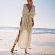 Load image into Gallery viewer, Deep V-Neck Chiffon Beach Maxi Dress