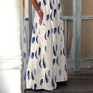Fashion Elegant High-Waisted Pocket Holiday Maxi Dress