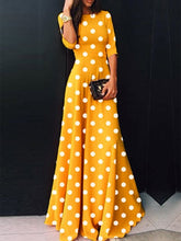 Load image into Gallery viewer, Round Neck  Polka Dot Maxi Dress