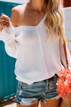Load image into Gallery viewer, V Neck  Asymmetric Hem  Plain Sweaters