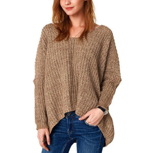 Solid Color V-Neck Loose Padded Sweater