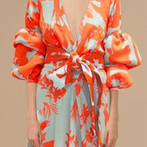Sexy Deep V Neck Floral Printed Lantern Sleeve Shift Maxi Dress