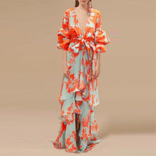 Load image into Gallery viewer, Sexy Deep V Neck Floral Printed Lantern Sleeve Shift Maxi Dress