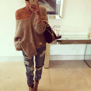 Loose Solid Color V-Neck Strapless Long Sleeve Sweater