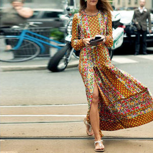 Fashionable Vintage Printed Autumn Yellow Shift Dress