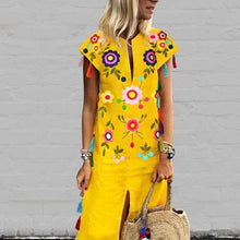 Load image into Gallery viewer, Vintage Printed Fringed Yellow Shift Dress