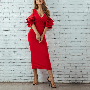 Sexy Plain Falbala Sleeve Vneck Line Evening Dress