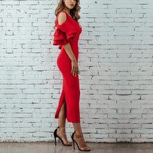 Load image into Gallery viewer, Sexy Plain Falbala Sleeve Vneck Line Evening Dress