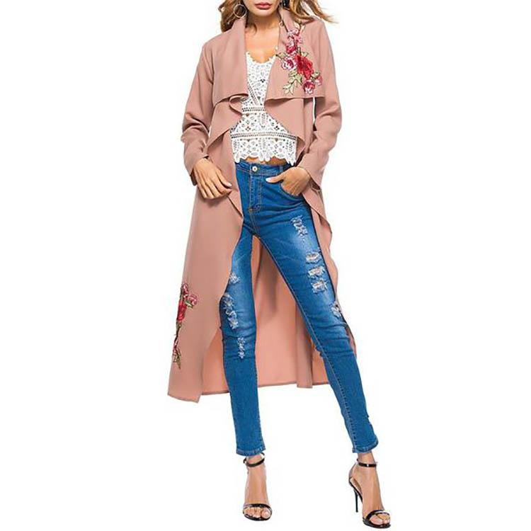 Rose Embroidered With Belt Temperament Lapel Long Sleeve Cardigan