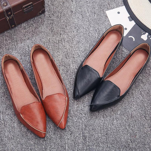 Plain  Flat  Point Toe  Date Comfort Flats