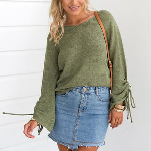 Fashion Plain Long Sleeves Bandage Sweater