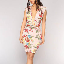 Load image into Gallery viewer, V Collar Printing Sleeveless Package Hip Bodycon Dress