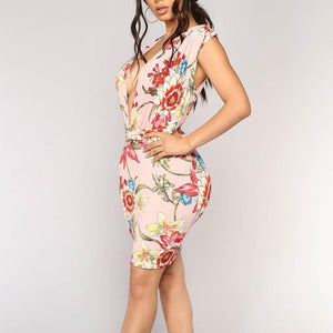 V Collar Printing Sleeveless Package Hip Bodycon Dress