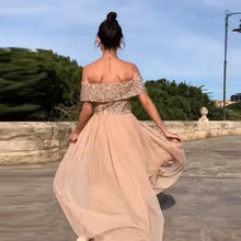 Load image into Gallery viewer, Sexy Off Shoulder Sequin Evening Dress Maxi Dresses
