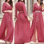 Load image into Gallery viewer, Chiffon Long Swing Beach Maxi Dress