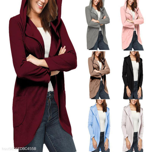 Hooded Jacket Solid Color Lapel Casual Jacket