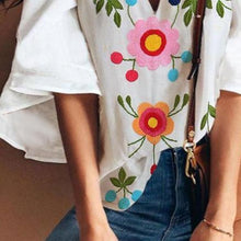 Load image into Gallery viewer, Sexy V Collar Floral Print Bell Sleeve T-Shirt Blouse