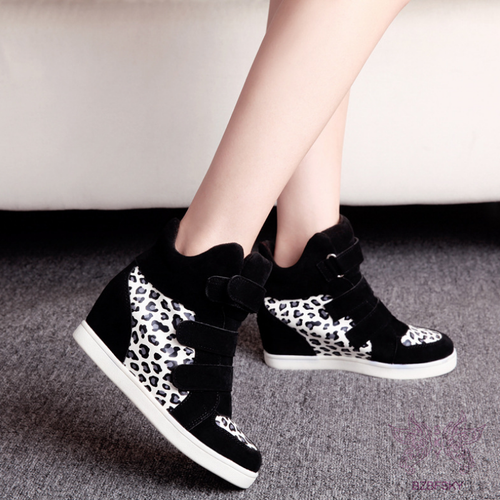 New Women Inside Heel Leopard-Print   Wedge Heel Boots & Sneaker