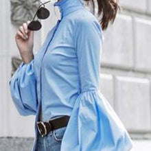 Load image into Gallery viewer, High Collar Long Sleeve Puff Cuff Button Front Blouse