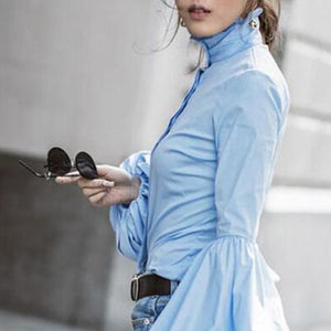 High Collar Long Sleeve Puff Cuff Button Front Blouse